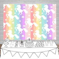Laeacco White Unicorn Backdrop 7x5ft Vinly Photography Background Colorful Vertical Striped Photo Background White Uniocrn on Background Unicorns Photo Backdrop Children Baby Girls Birthday Decor