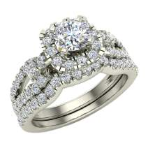 Wedding Ring Set for Women Accented Diamond Loop Shank 1.00-1.05 ctw Carat 14K Gold (G, SI)