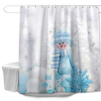 "Colorful Star Blue Hat Snowman Shower Curtain with Hooks for Bathroom Fabric Machine Washable Waterproof Bath Curtain Sets for Kids Winter Small Bathroom Curtain 60"" x 72"""