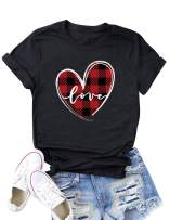 ZXZY Plaid Love Heart Graphic Tee Love Letter Short Sleeve Tee Tops for Women