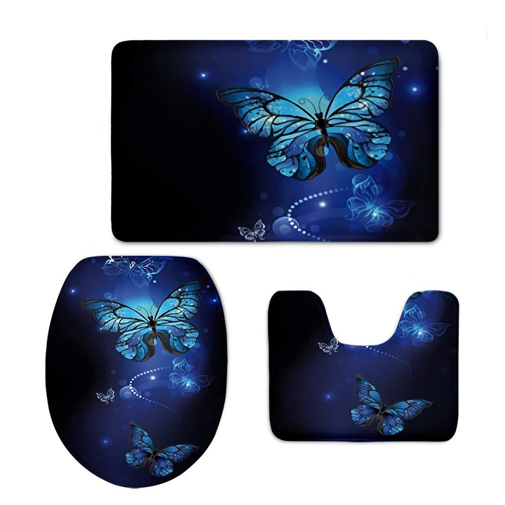 chaqlin Blue Butterfly Designer Comfort Bathroom Rugs Mat 3 Piece Set Includes,Contour Mat Lid Toilet Cover Bath Rugs