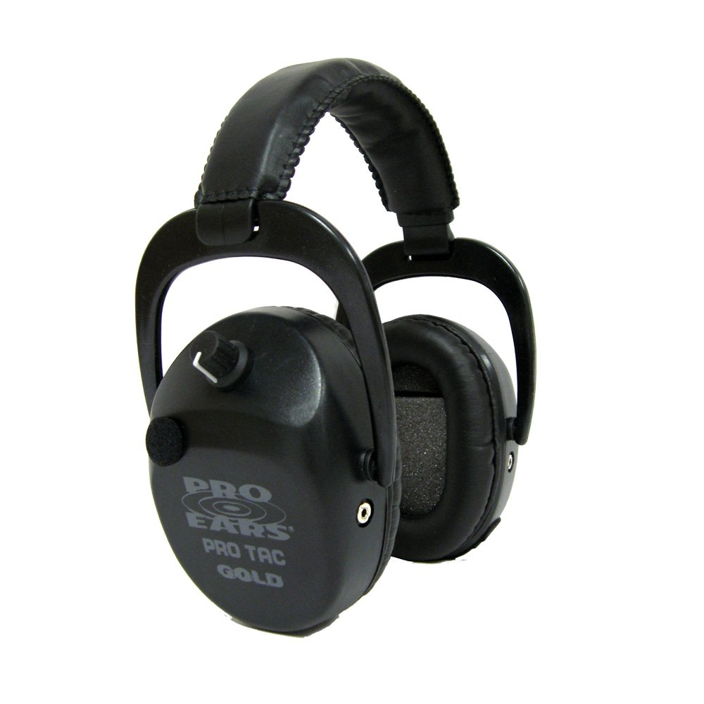 Pro Ears - Pro Tac SC Gold - Military Grade Hearing Protection and Amplification - NRR 25 - Ear Muffs - Lithium 123a Batteries - Black