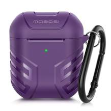MOBOSI Vanguard Armor Series AirPods Case Cover Designed for AirPods 2 & 1, Full-Body Protective Military AirPod Case with Keychain for AirPods Wireless Charging Case, Purple [Front LED Visible]