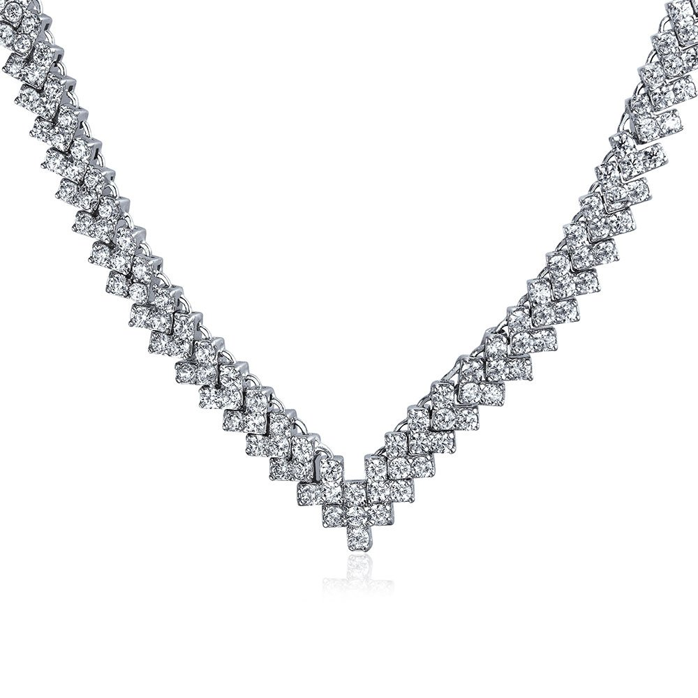 Bridal Geometric Cubic Zirconia Statement AAA CZ Collar V Necklace for Women for Wedding for Prom Pageant Silver Plated