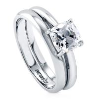 BERRICLE Rhodium Plated Sterling Silver Cushion Cut Cubic Zirconia CZ Solitaire Engagement Wedding Ring Set 1.5 CTW