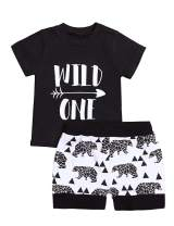 Baby Boy Clothes Short Sleeve Wild One T-Shirt Bear Printing Pants 2PC Summer Outfit Set