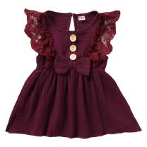 SANMIO Toddler Baby Girls Clothes Dresses Outfits Cute Ruffle Princess Party Tutu Bowknot Dress