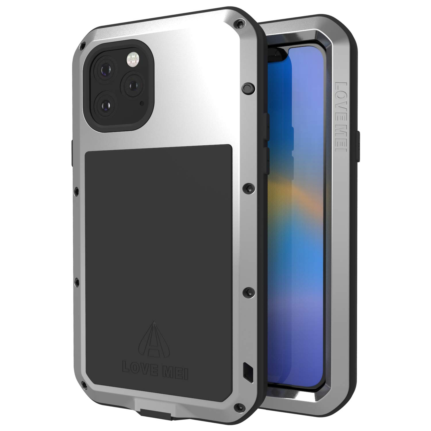 LOVE MEI Compatible with iPhone 11 Pro Phone Case Shockproof for Men Heavy Duty Metal Full Body Protective Hard Back Cover with Screen Protector for iPhone 11 Pro 5.8 Inch for Outdoors Working Silver