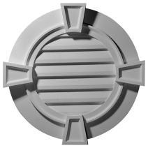 Ekena Millwork GVRO36TFK 35 5/8-Inch OW x 34 1/8-Inch OD x 1 1/2-Inch P Round Gable Vent with Keystones, Functional
