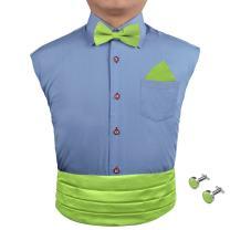 Epoint Men's Fashion Multicolored Silk Solid Cummerbund for Mens Gift Bow Tie Set