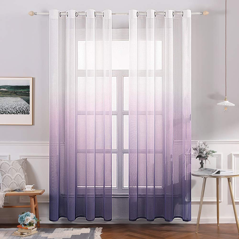 MIULEE 2 Panels Linen Sheer Curtain Voile Grommet Top Semi Translucent Gradient Curtains Window Treatment for Bedroom Living Room Ombre Purple 54x96 Inch