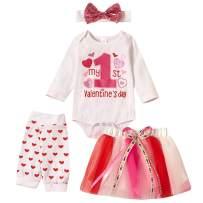 Xifamniy Baby Girls My 1st Valentine's Day Outfit Newborn 4Pcs Bodysuit Headband Legging Socks Set