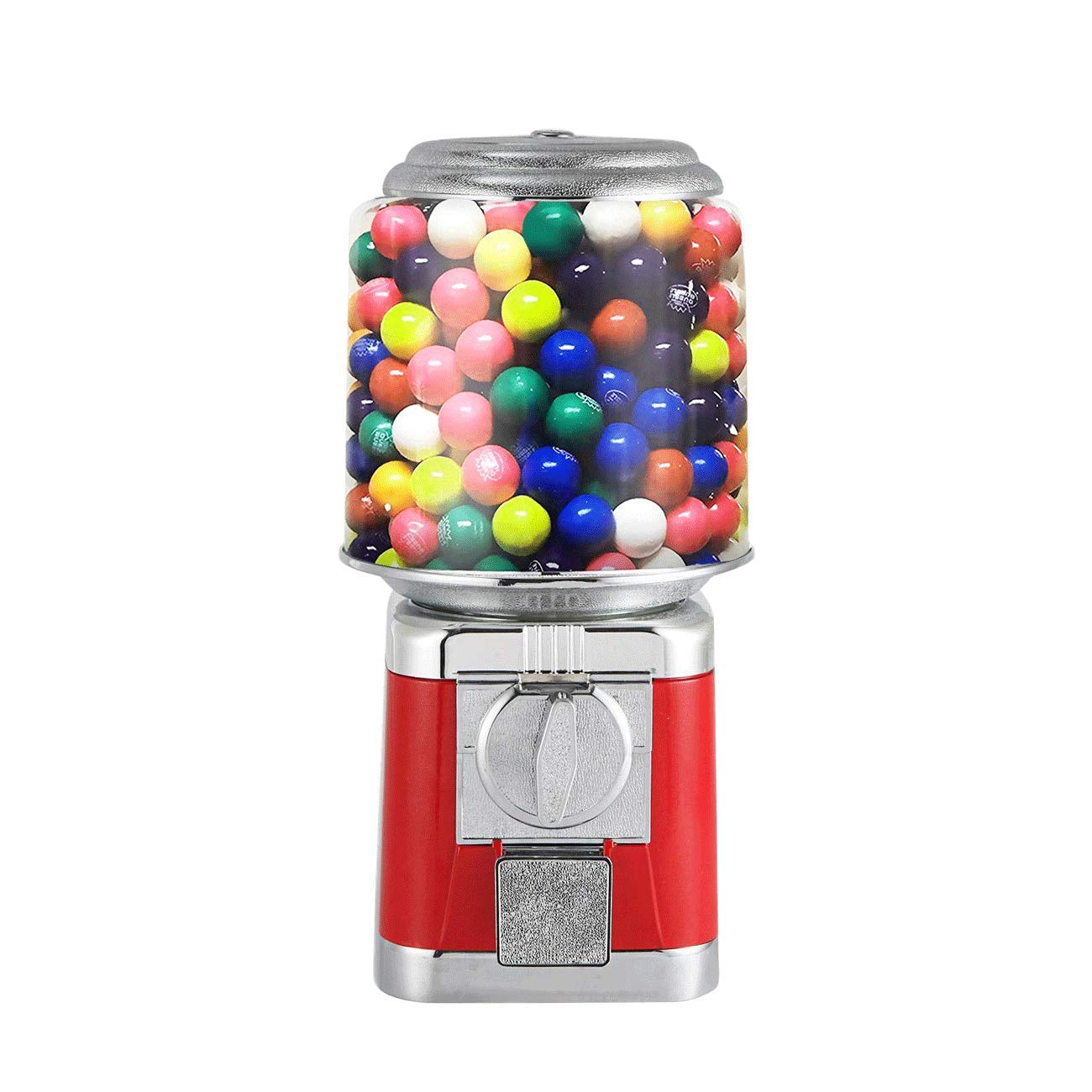 IRONWALLS Gumball Candy Vending Machine, Capsule Bouncy Ball Gumball Commercial Dispenser Machine with Key Lock for 25-32mm Candy, Durable, Removable Metal Body, Red