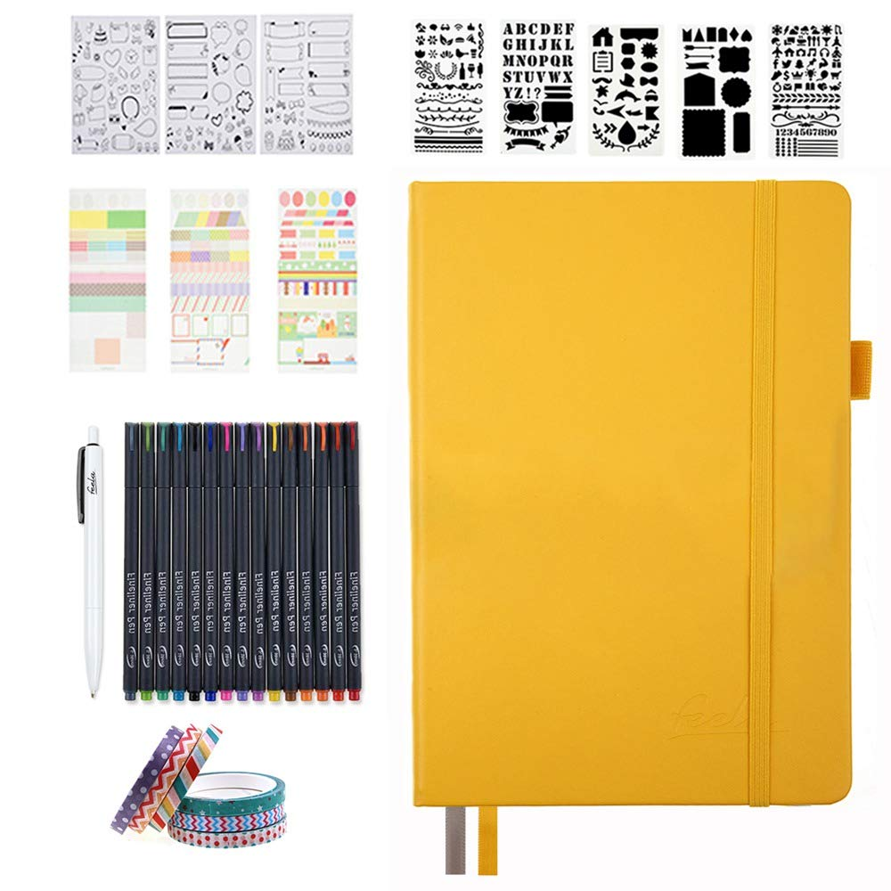 Bullet Dotted Journal Kit, Feela A5 Dotted Bullet Grid Journal Set with 224 Pages Yellow Notebook, Fineliner Colored Pens, Stencils, Stickers, Washi Tape, Black Pen for Diary Schedule Planner Draw