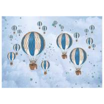 Funnytree 7x5FT Blue Hot Air Balloon Boy Birthday Party Backdrop Retro Sky Cloud Stars Travel Photography Background Baby Shower Kids Pilot 1st Banner Decoration Supplies Photo Booth