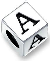 Block Letter Abc Alphabet Initial Charm Bead For Women For Teen 925 Sterling Silver For European Bracelet