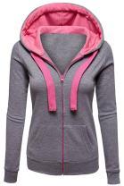 Pink Wind Women's Sweatshirt Hoodies Long Sleeve Full Zip Drawstring Jacket Coat