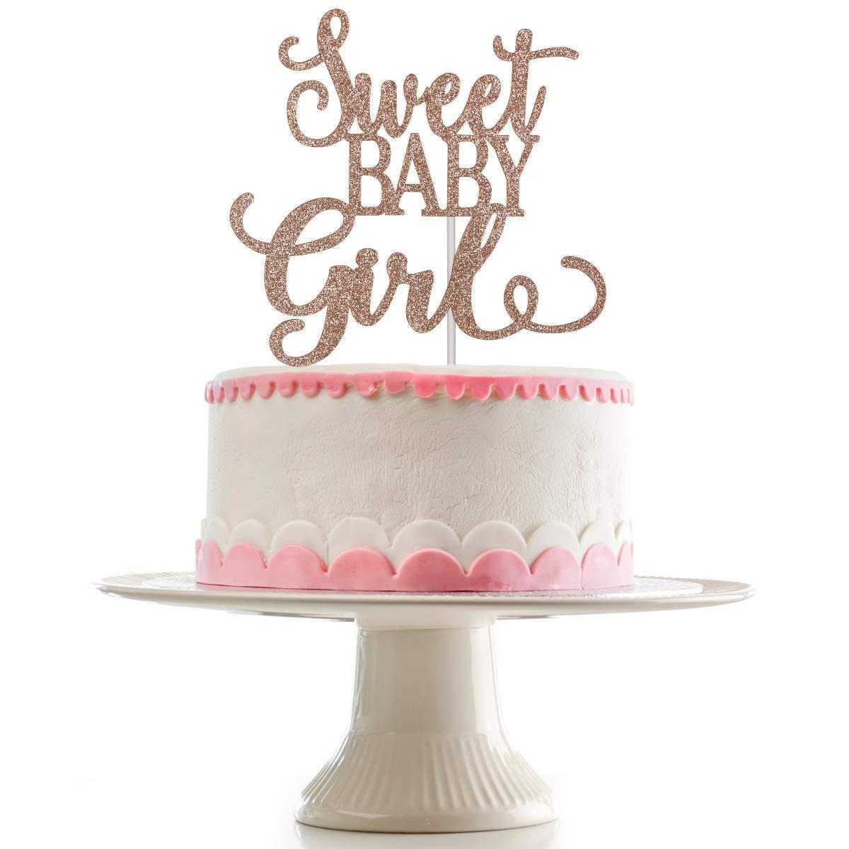 Rose Gold Glittery Sweet Baby Girl Cake Topper for Baby Shower Party,Baby Shower Cake Topper Decor