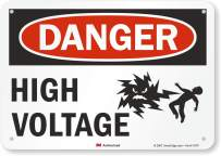 "SmartSign 3M Engineer Grade Reflective Sign, Legend ""Danger: High Voltage"" with Graphic, 7"" high x 10"" wide, Black/Red on White"