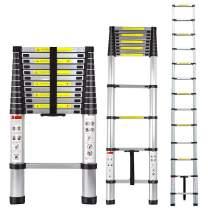 Telescoping Ladder 12.5ft/3.8m Aluminum Multi Telescopic Extension Ladder One-Button Inward Sliding Retraction