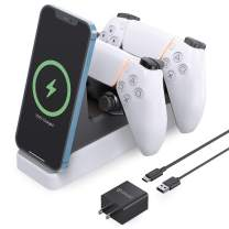 PS5 Controller Charger, Letlar Dualsense Charging Station for Playstation 5, 2 in 1 PS5 Charging Station for Playstation 5 Controllers and iPhone 12/12 Pro/11/11 Pro/XR/Xs/X/8/8P/Samsung Phones