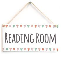 "Meijiafei Reading Room - Library or Quiet Place Door/Wall Sign Coloured Hearts Border for Book Lovers 10"" X 5"""