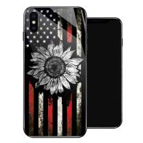 iPhone XR Case, Retro Sunflower Flag iPhone XR Cases for Girls,Tempered Glass Pattern Design Back Cover [Shock Absorption] Soft TPU Bumper Frame Support Case for iPhone XR Black White Red