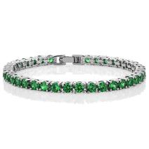 Gem Stone King 10.00 Ct Round Green Color Cubic Zirconia CZ Tennis Bracelet for Women 7 Inch