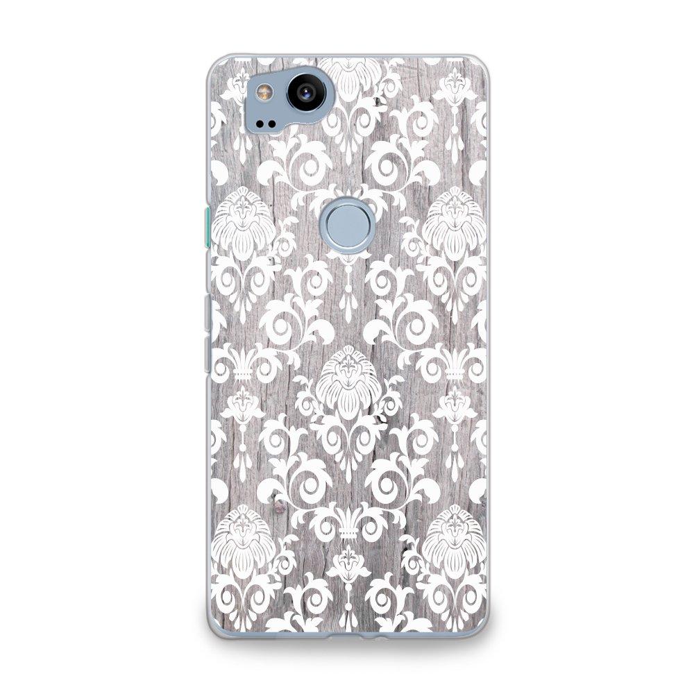 CasesByLorraine Google Pixel 2 Case, Wood Print Damask Floral Pattern Case Flexible TPU Soft Gel Protective Phone Cover for Google Pixel 2 (2017) (G11)