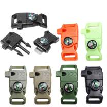 "6pcs Pack Mix Colors 5/8"" Compass Flint Scraper Fire Starter Whistle Buckle Plastic Paracord Bracelet Outdoor Camping Emergency Survival Travel Kits #FLC158-FWC(Mix-s) (6pcs)"