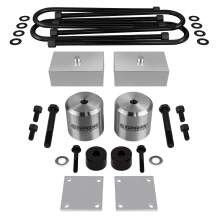 """Supreme Suspensions - Full Lift Kit for 2005+ Ford F250 F350 Super Duty w/OVERLOADS 3"""" Front Lift Spring Spacers + 1"""" Rear Lift Blocks + UBolts + Brake Line Brackets + Bump Stop Spacers 4WD (Silver)"""