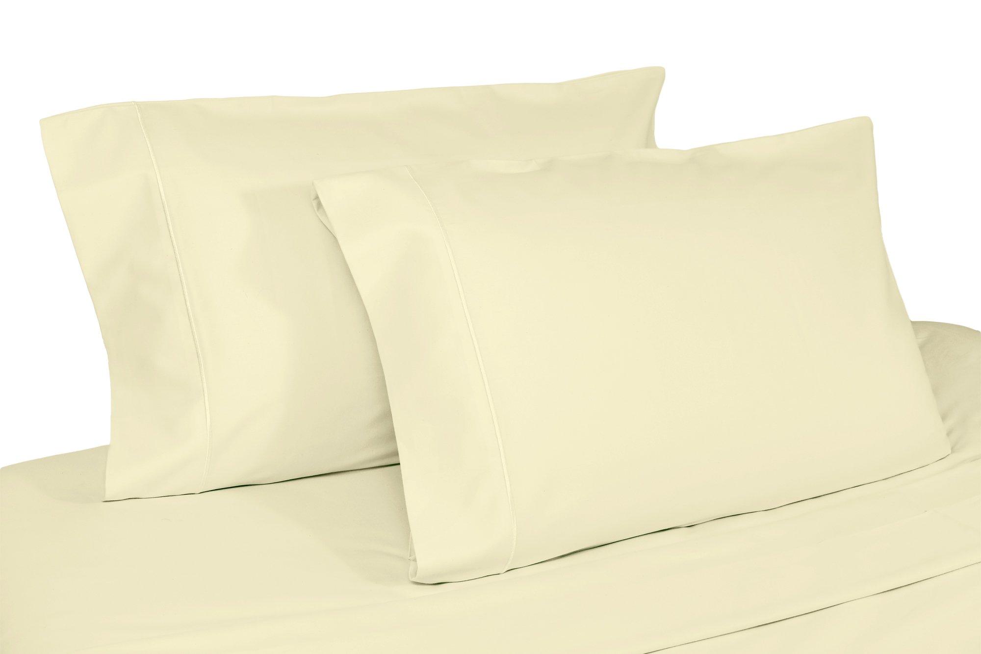 Whisper Organics Organic Cotton Pillow Case Set GOTS Certified, 400 Thread Count, Sateen (Standard, Natural)