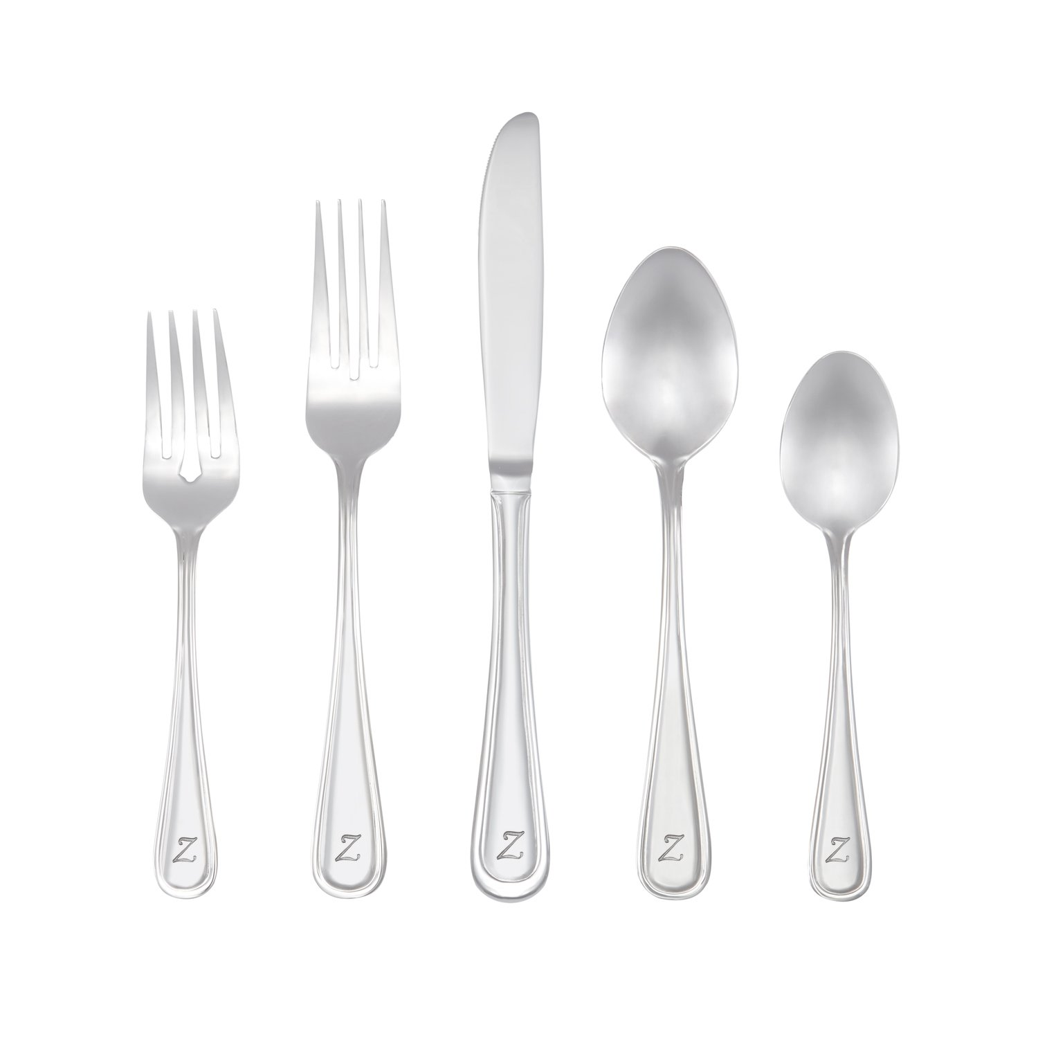 RiverRidge Home 10-224 Marina Monogrammed Flatware Set, 46, Silver