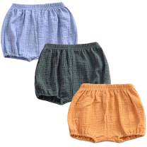 REWANGOING 3 Pack of Baby Infant Kids Girl Soild Cotton Linen Blend Soft Ruffle Bloomer Shorts Pants