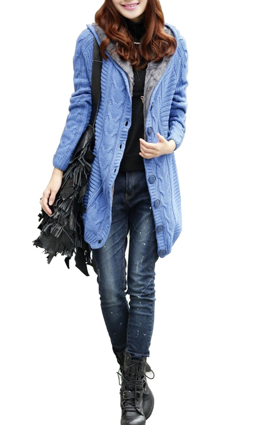 Women's Cable Knit Hooded Cardigan Fleece Lined Sweater Trench Coat