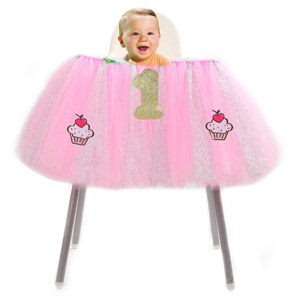 Haperlare 36 x 14 inch Christmas Chair Skirt Tutu Skirt Handmade Baby 1st Birthday High Chair Skirt with Glitter Pink Tulle Table Skirt for Christmas Baby Shower Decorations with 3pcs accessories
