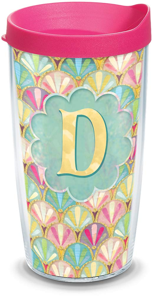 Tervis 1322073 INITIAL-D Multicolored Scallop Insulated Travel Tumbler with Wrap and Fuchsia Lid, 16oz - Tritan, Clear