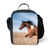 Amzbeauty Horse Lunch Bag for Kids Insulated Freezable Thermos Square Box