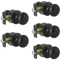 Probrico Entry Door Knobs with Lock,Keyed Alike Entrance Locks with Same Key,Interior Ball Shape Door Lockset in Oil Rubbed Bronze Finish,5 Pack