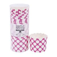 Simply Baked CLG-106 Large Baking Cups, 20-Pack, Fuchsia with White Dot