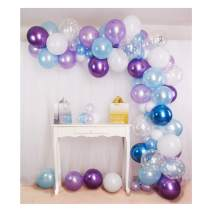 Shimmer and Confetti 92 Pack Ice Princess Balloon Arch and Garland Kit - tape. Purple, Blue, Snoflakes, Chrome Balloons. Frozen Party Supplies for Birthdays & Baby Showers