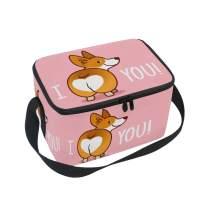 ALAZA I Love You Corgi Dog Insulated Lunch Bag Box Cooler Bag Reusable Tote Bag Outdoor Travel Picnic Bag With Shoulder Strap