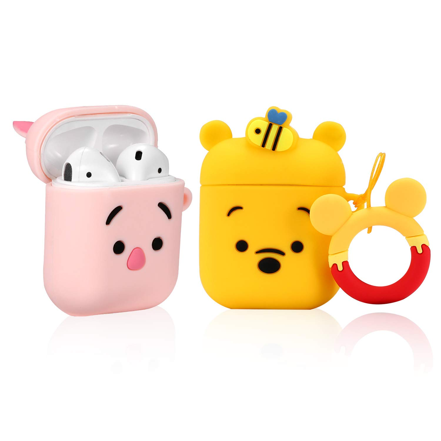 Lupct (Winnie & Pig) Case for Airpods 1/2 Cute Soft Silicone,Cartoon 3D Fun Animal Pattern Cover for Girls Kids Teens Character Design Airpod Funny Kawaii Kits Cases for Air pods (2 Pack)