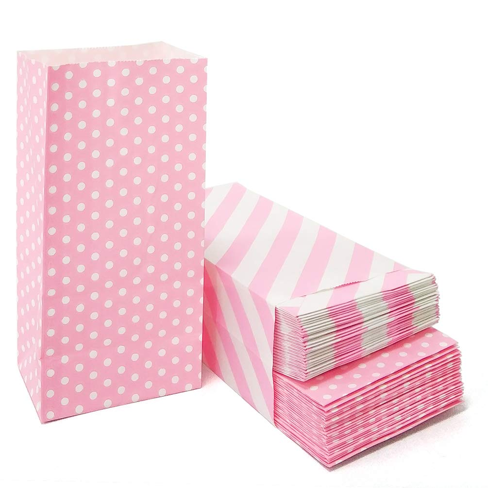 50 CT Mini Paper Bags Pink Party Favor Bags for Kids Birthday Party Baby Shower Wedding Supplies by ADIDO EVA (Polka dot and Striped 3.5×2.3×7 in)
