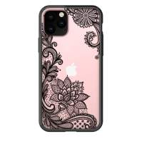 "HUIYCUU Compatible with iPhone 11 Pro Case 5.8"", Shockproof Cute Slim Fit Anti-Slip Black Clear Design Flower Pattern Soft Bumper + Hard Cover Girl Women Case for iPhone 11 Pro XI Pro, Lace Floral"