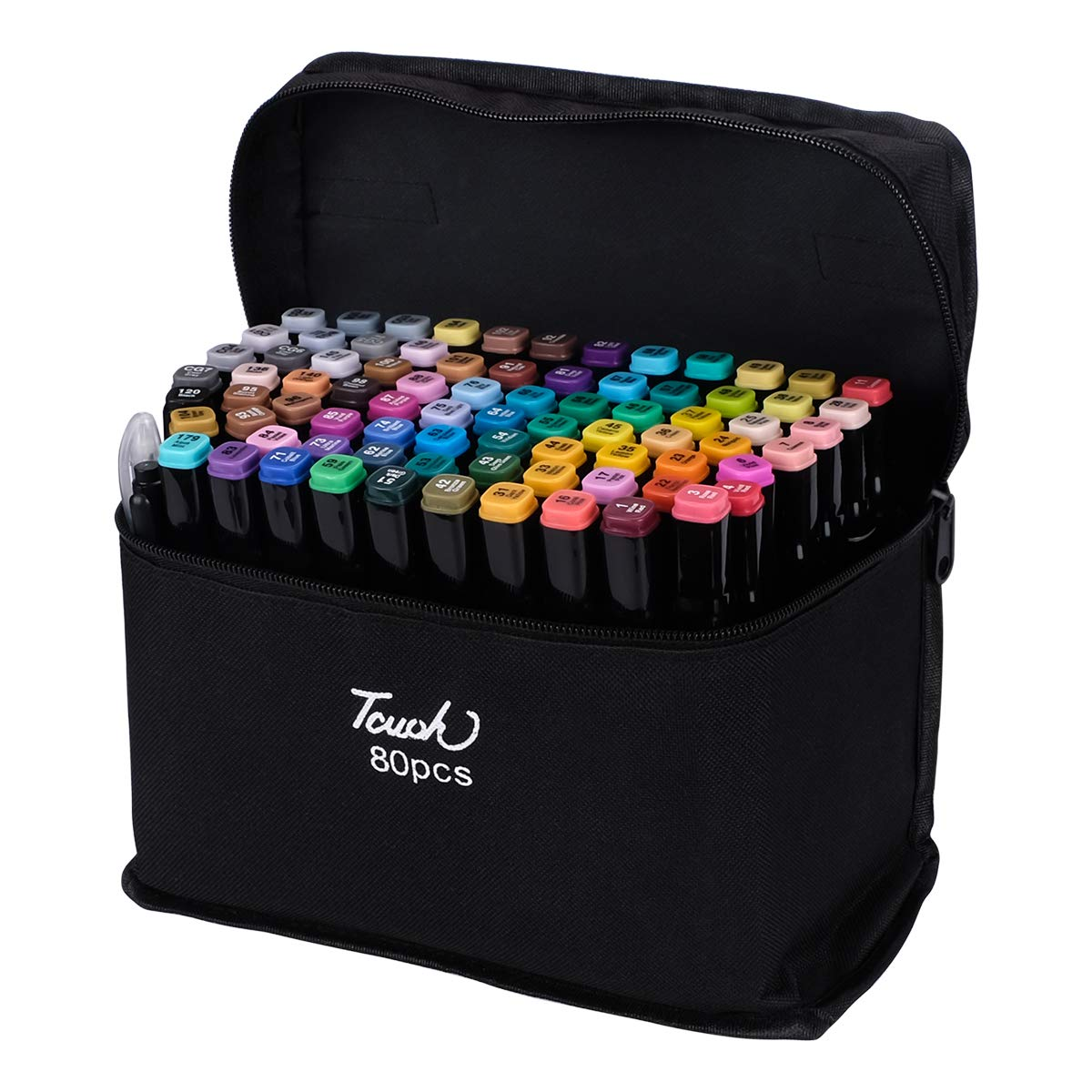 Chfine Art Marker Set - 40/60/80 Color Dual Tip Permanent Sketch Markers - Ideal for Artists Adults Kids Drawing Coloring Crafts Gifts-Color Card-Carry Case for Storage (80 Colors (Brighter))