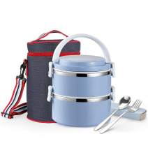 Themral Lunch Box, Arderlive Stackable Insulated 18/8 Stainless Steel Lunch Container With Denim Lunch Bag, Portable & Leakproof. (ZFK-2BLUE)