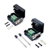 DB9 Male 9Pin to Screw Terminal Connector Signal Module + DB9 Female 9Pin with NUT Terminal Connector Signal Module