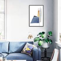 """MOTINI Framed Wall Art Abstract Blue and Gold Geometric Picture Acrylic Prints Modern Contemporary Bedroom Living Room Decor, 15.75"""" x 23.62"""" Vertical Art"""