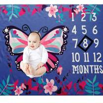 Baby Monthly Milestone Blanket Photography Backdrop Photo Prop for Boy Girl First Year Beauty Butterfly Milestone Blanket